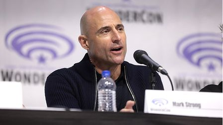 """Mark Strong speaking at the 2019 WonderCon, for """"Shazam!"""", at the Anaheim Convention Center in Anaheim, California."""
