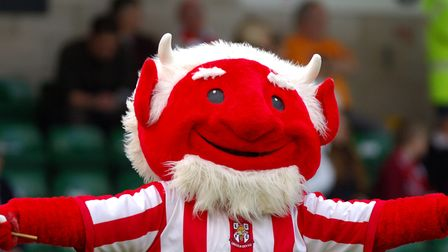 Lincoln City mascot 'The Lincoln Imp' entertains the crowd