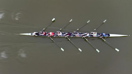 Cambridge crew train on River Great Ouse at Ely ahead of Boat Race.