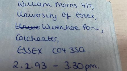 The letter was sent by someone living on the University of Essex campus in Colchester in February 1993.