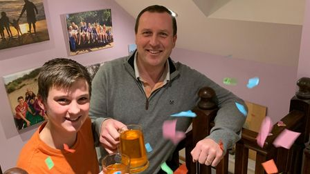 Another King's Ely pupil celebrates after climbing the distance to the Mount Everest summit