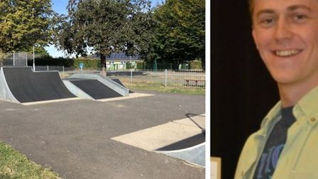 Stan Hickish (right) and small skate park at St John's Road, Ely (left).