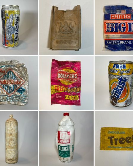 Rubbish packets and plastic bottles