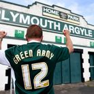 A Plymouth Argyle fan shows his support outside the ground before the Sky Bet League Two, Play Off S