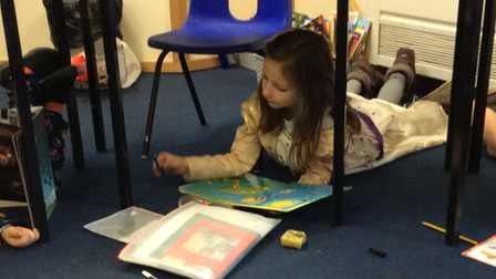 St Andrew's pupils reading on World Book Day