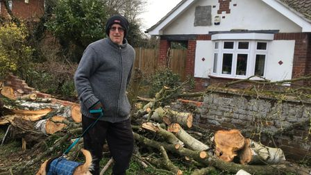 Stephen Button at his Earlham Green Lane home which was hit by a tree