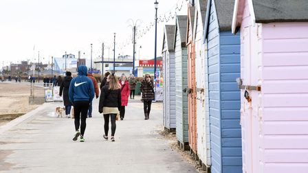 People exercising and going for walks in Felixstowe, during the last weekend of lockdown before the