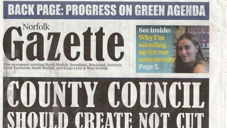 The top half of the front page of the Norfolk Gazette, which is produced by the Liberal Democrats.