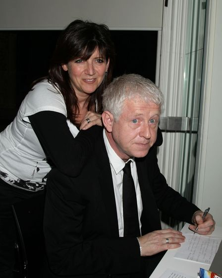 Emma Freud and her husband Richard Curtis during a BBC Radio 3 fundraiser for Comic Relief, which ta