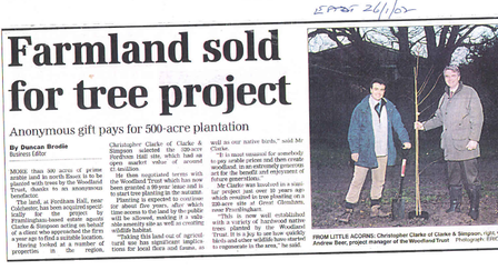 A cutting from the East Anglian Daily Times in 2002 about the purchase of the Fordham Hall