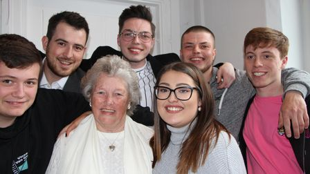 Patsy Stammers pictured with her six grandchildren.
