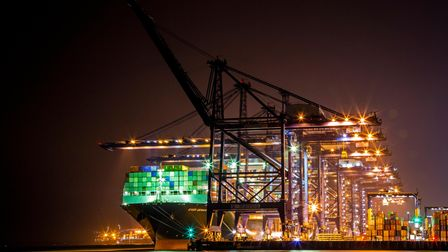 The Port of Felixstowe at night