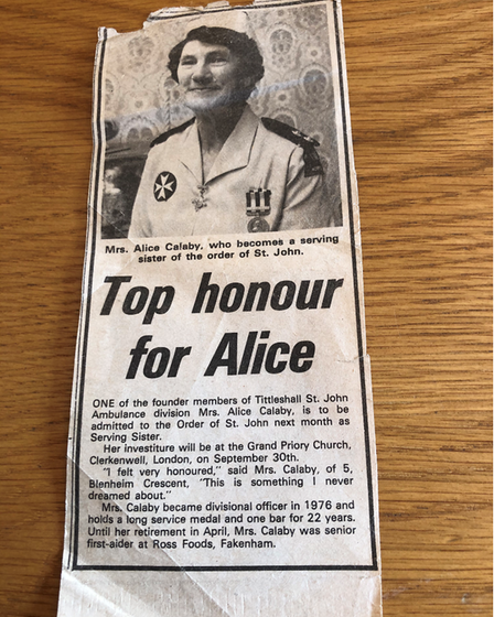 A press cutting about Mrs Calaby