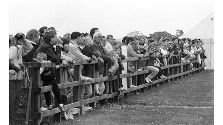 Crowds lined up along the fences to watch the action in the skies at Ipswich Air Show in 1991