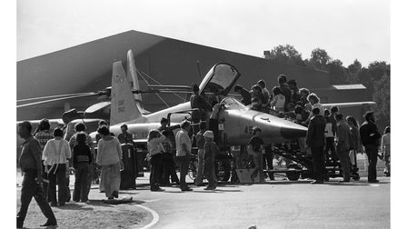 Queuing to see the cockpit of an F-5E jet at Woodbridge Air Show in 1976