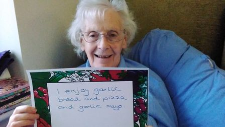 One of the residents at Cedrus House care home in Stowmarket taking part in the Food for Thought memories project