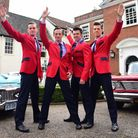 The Jersey Boys with cars from the Classic American Car Owners in Norfolk group, at the Assembly Hou