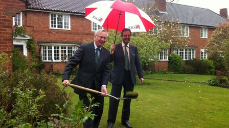 Duke of Gloucester cutting first turf at Manson House in Bury St Edmunds in 2015