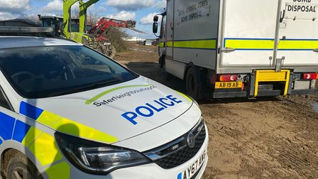 Officers from Mildenhall Police joined the Army's bomb squad at the farm in Tuddenham, west Suffolk