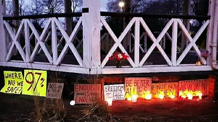 The candlelit vigil for Sarah Everard at Chapelfield Gardens bandstand in Norwich.