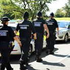 Norfolk and Suffolk Police at the scene of an unlicensed music event (UME) in the Aldeby.Officers at