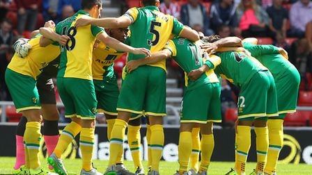 The Norwich City players in the pre-match huddle before kick-off at Sunderland. Picture by Paul Ches
