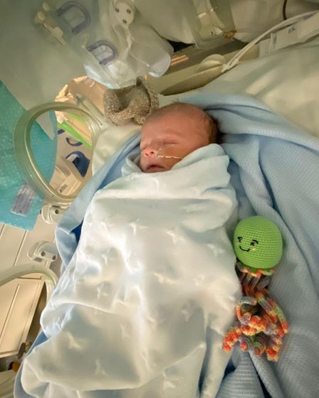 Baby Alfie recovering in intensive car at the Royal London Hospital