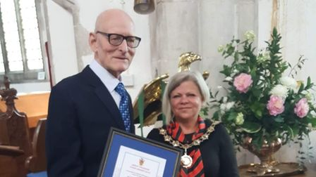 Tributes have been paid to William Chastell who has died. Pictured, William Chastellreceiving his award from theDunmow...