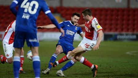 Gwion Edwards challenges at Fleetwood Town and gets himself injured