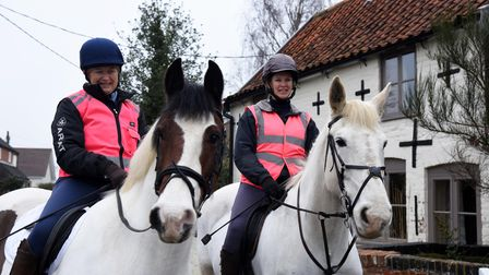 Sally Evans with horse Harry and Nicky Rigard with horse Oscar. The first route of the Snape Quiet L