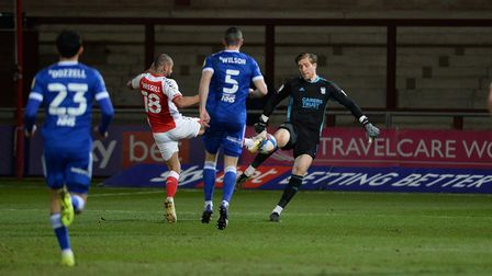 Tomas Holy out of his box and under pressure at Fleetwood Town