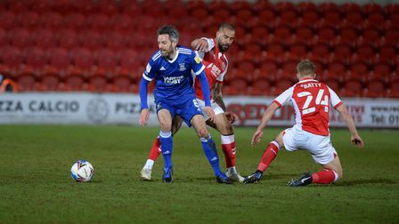 Cole Skuse under pressure at Fleetwood Town