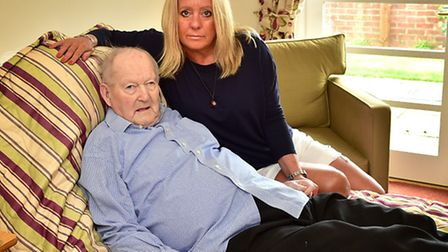 Beverley Sneezum with her father Peter Appleton who has terminal bowel cancer.Picture: ANTONY KELLY