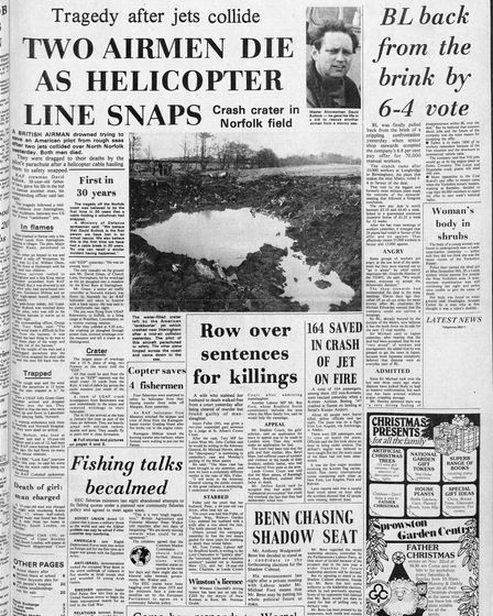 The front page of the Eastern Daily Press the day after the tragedy