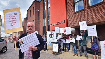 Cuts to benefits for disabled people demonstration at DWP, Job Centre, Norwich. Mark Harrison, CEO o