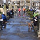 People out enjoying lunch in the Memorial Gardens. Picture: DENISE BRADLEY