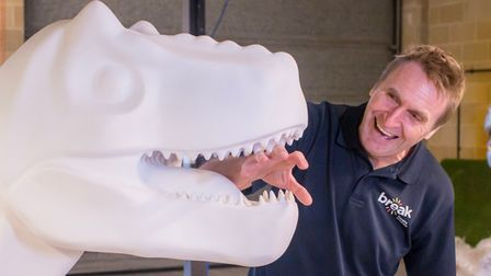 Peter Marron from Break with a T-Rex GoGoDiscover sculptureahead of the Norwich trail this summer
