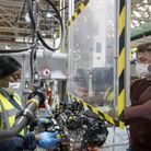 Workers in Ford Dagenham production line