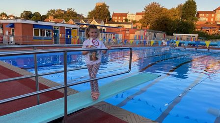 Edith Davidson, Aiden Lowe's niece,at Beccles Lido.