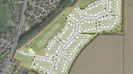 How the site is planned to be look just ofeast of Station Road, Long Melford.