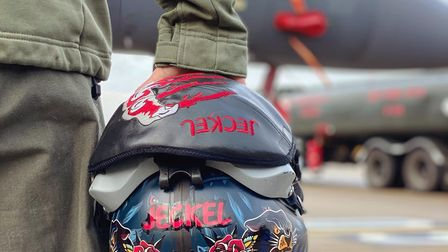 A brightly decorated fighter pilot's helmet