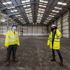 Cllr Darren Rodwell with Lisa Dee, head of Film LBBD inside one of the warehouses at The Wharf in Barking.