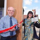 Norfolk County Councillor, Martin Wiby opens the new farm shop at the Half Moon pub, Rushall with la