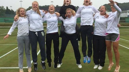 Norfolk's women celebrate their Group Two success in the Summer County Cup at Cromer, from left, Via