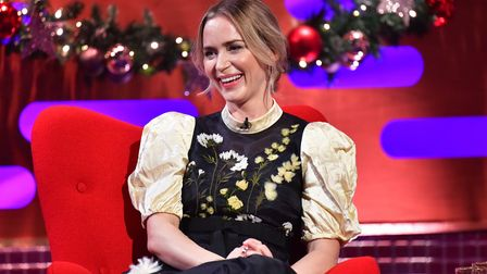 EMBARGOED TO 0001 TUESDAY DECEMBER 29 EDITORIAL USE ONLY Emily Blunt during the filming for the Grah