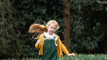 Adelaide Furniss having fun amongst the daffodils in Chantry Park