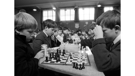 A Junior Chess tournament in Bury St Edmunds in March 1987