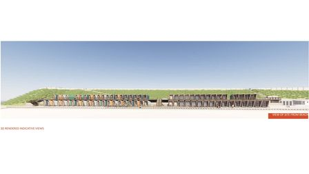Proposed impressions of the Jubilee Beach Huts in Lowestoft. A view of the site from the beach.