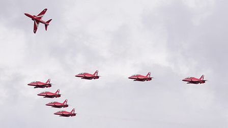 The Red Arrows arrive at Norwich Airport to prepare for the Clacton Airshow. Picture: DENISE BRADLEY