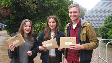 Delighted Gresham's School pupils picking up their GCSE results. Picture: SUBMITTED